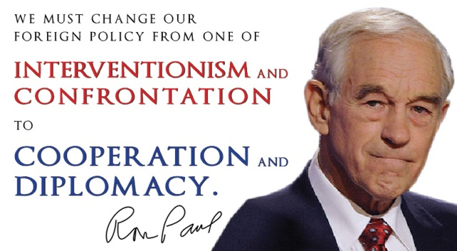 """We must change our foreign policy from one of interventionism and confrontation to cooperation and diplomacy."""